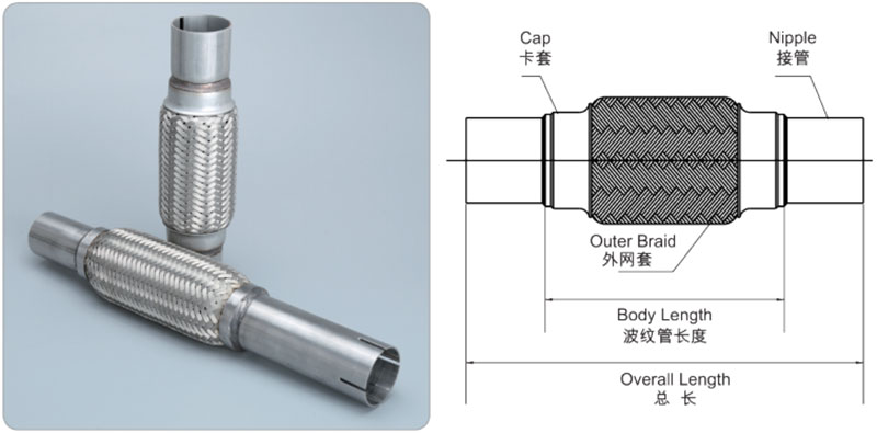 Comflex exhaust pipe with nipple